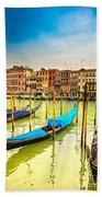 Gondolas In Venice - Italy  Beach Towel