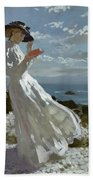 Grace Reading At Howth Bay Beach Towel by Sir William Orpen