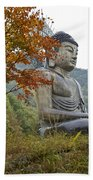 Great Buddha In Autumn Beach Towel