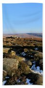 Gritstone Rocks On Hathersage Moor, Derbyshire County Beach Towel