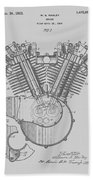 Harley Engine Patent From 1919 Beach Towel