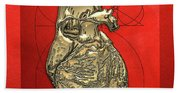 Heart Of Gold - Golden Human Heart On Red Canvas Beach Towel