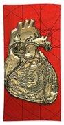 Heart Of Gold - Golden Human Heart On Red Canvas Beach Sheet