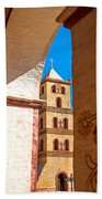 Historic Stone Bell Tower Beach Towel