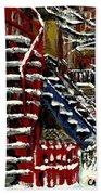 Escaliers De Montreal Ville De Verdun Best Original Montreal Paintings On Sale Peintures  Beach Towel