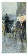 Horse Drawn Cabs At Evening In New York Beach Towel by Childe Hassam