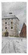 Hovdala Castle Gatehouse In Winter Beach Towel