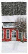 Hovdala Castle Orangery In Winter Beach Towel
