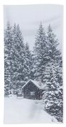 Huts And Winter Landscapes Beach Towel