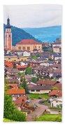 Idyllic Alpine Town Of Kastelruth On Green Hill View Beach Towel