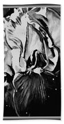Iris In Black And White Beach Towel