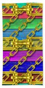 Iron Chains With Wood Texture Beach Towel