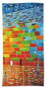 Jerusalem Wailing Wall Original Acrylic Palette Knife Painting Beach Towel