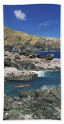 Kayaking Along Coastline Beach Towel