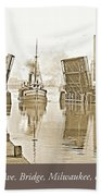 Kilbourn Avenue Bridge, Milwaukee, Wisconsin, 1915-1920, Vintage Beach Towel