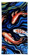 Koi Fish In Ribbons Of Water Beach Towel