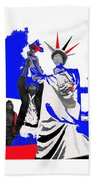 Lady Liberty's Torch Adjusted Parade Tucson Arizona Color Added Beach Towel