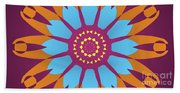 Landscape Purple Back And Abstract Orange And Blue Star Beach Towel