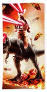 Laser Eyes Space Cat Riding Dog And Dinosaur Beach Towel