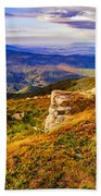 Light On Stone Mountain Slope With Forest Beach Towel