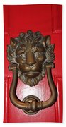 Lion Head Door Knocker Beach Towel
