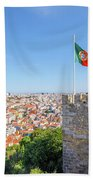 Lisbon Castle Flag Beach Towel