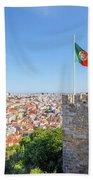 Lisbon Castle Flag Beach Sheet