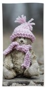Little Teddy Bear Sitting In Knitted Scarf And Cap In The Winter Forest Between The Rails Beach Towel