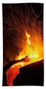 Log Campfire Burning At Night Beach Towel