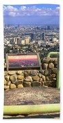 Los Angeles Skyline From Mulholland Beach Towel