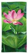 Magenta Lotus Blossom Beach Towel