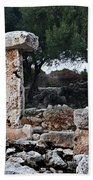 Megalithic Taula In Binisafua Menorca Bronze Age Beach Towel