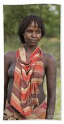 member of the Bena Tribe, Omo Valley Beach Towel