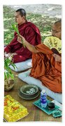 Monks Blessing Buddhist Wedding Ceremony In Cambodia Beach Towel