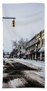 Moresville North Carolina Streets Covered In Snow Beach Towel