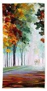 Morning Fog - Palette Knife Oil Painting On Canvas By Leonid Afremov Beach Towel