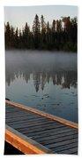 Morning Mist Over Lynx Lake In Northern Saskatchewan Beach Towel