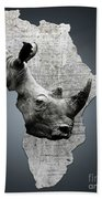 Mother Africa With A Rhino  Beach Towel