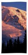 Mt. Rainier Dawn And Clouds Beach Towel