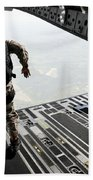Navy Seals Jump From The Ramp Of A C-17 Beach Towel