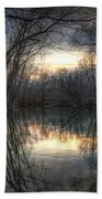 Neath The Willows By The Stream Beach Towel
