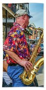 New Orleans Jazz Sax Beach Towel