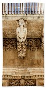 Noto, Sicily, Italy - Detail Of Baroque Balcony, 1750 Beach Towel
