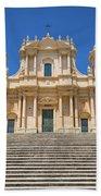 Noto, Sicily, Italy - San Nicolo Cathedral, Unesco Heritage Site Beach Towel