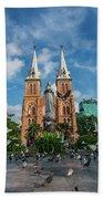 Notre-dame Cathedral Basilica Of Saigon, Officially Cathedral Basilica Of Our Lady Of The Immaculate Beach Towel