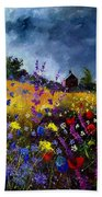 Old Chapel And Flowers Beach Towel