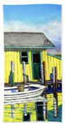 Old Crab Yellow Shacks Of Tangier Island Beach Towel