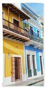 Old San Juan Houses In Historic Street In Puerto Rico Beach Towel
