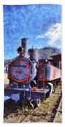 Old Steam Train In Nafplio Town Beach Towel