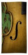 Old Violin Against Green Wall Beach Towel